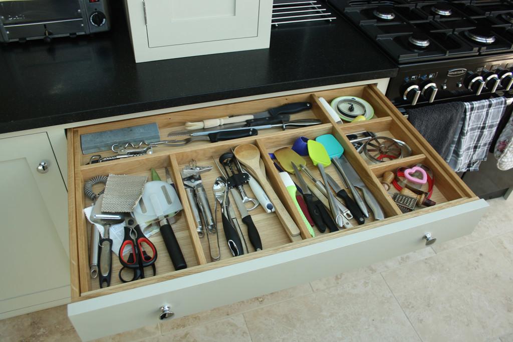 bespoke handmade kitchen cultery drawer