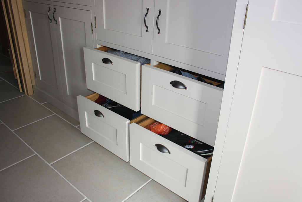 utility room handmade units pull out drawers