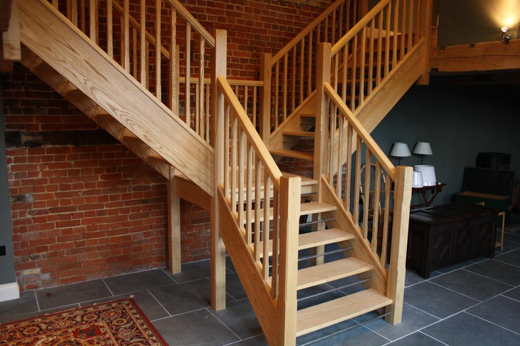 purpose made ash hardwood stair case
