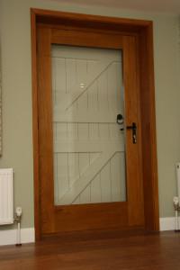 purpose made oak glazed door