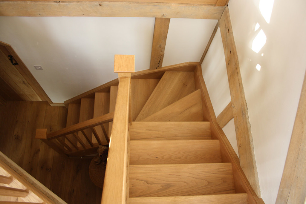 purpose made oak winder stair case 1