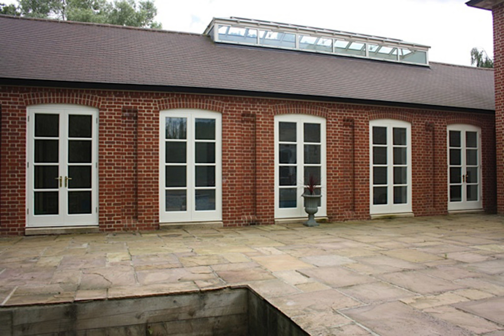 purpose made pool house french doors