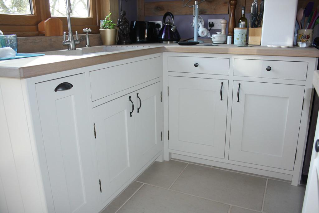 handmade painted shaker style kitchen base units