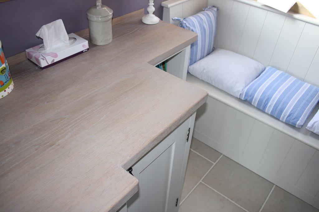 handmade painted kitchen window seat and corner unit