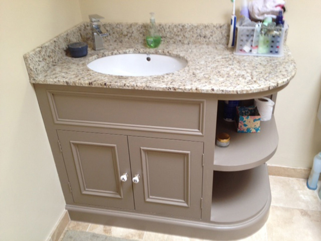 purpose made curved vanity unit