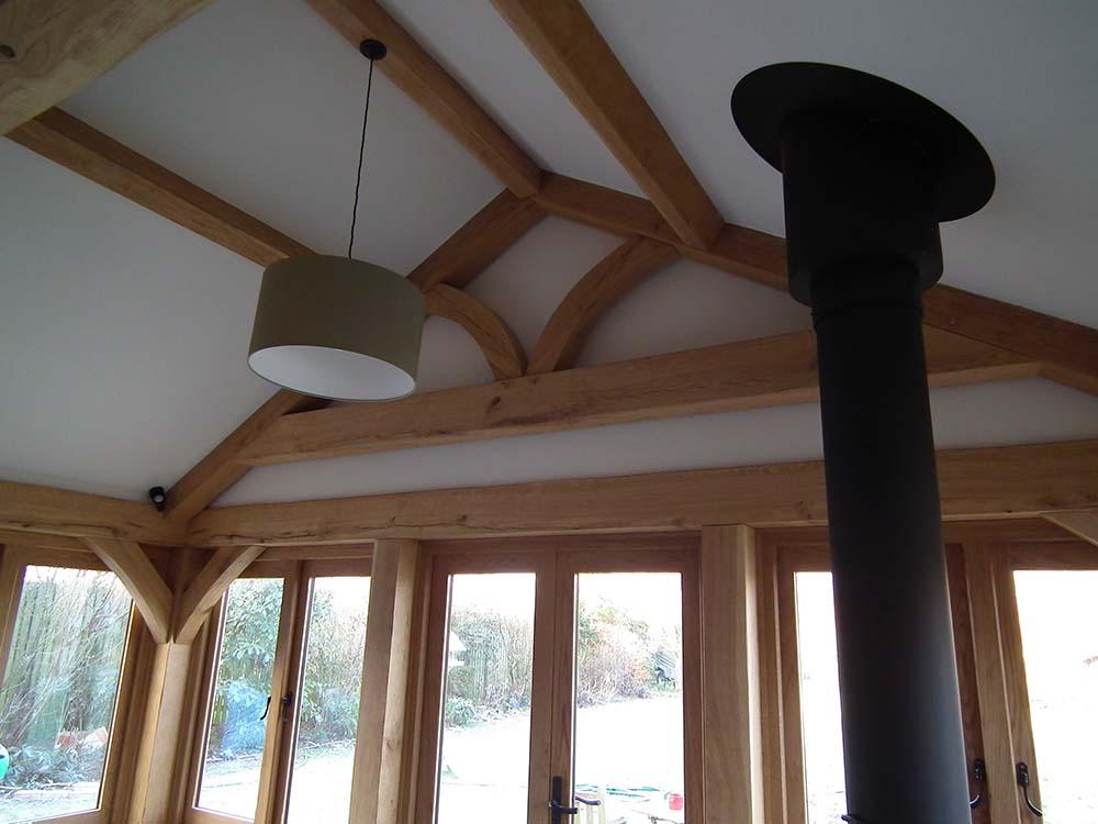 oak framed building roof detail