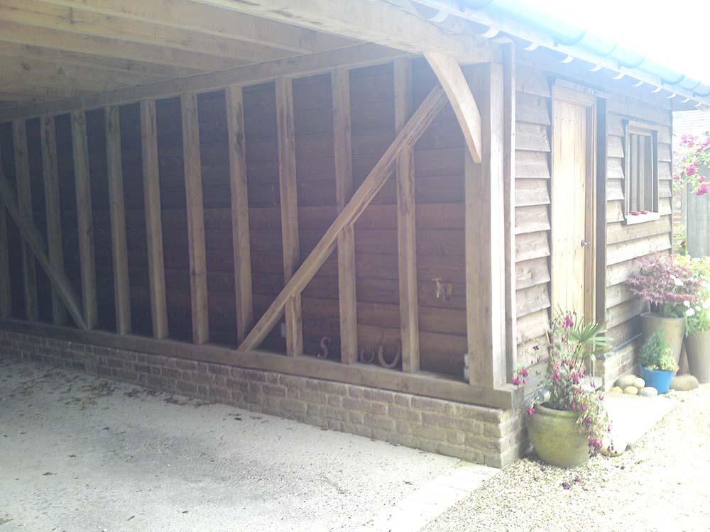 oak framed cart lodge building