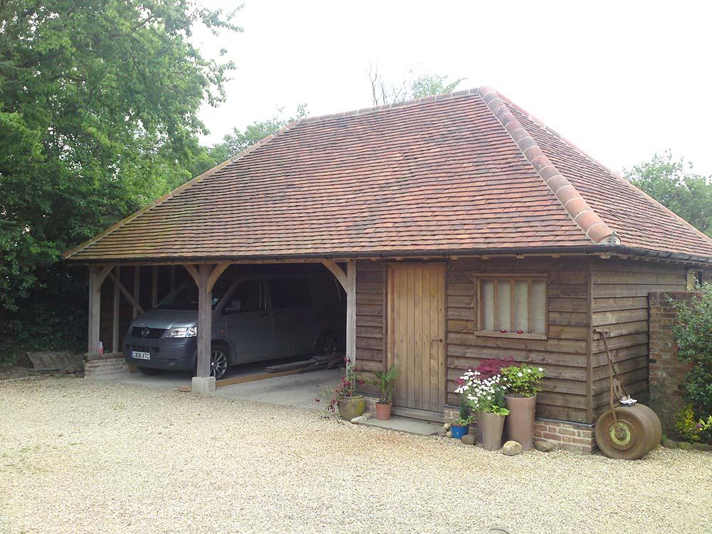 oak framed garage cart lodge
