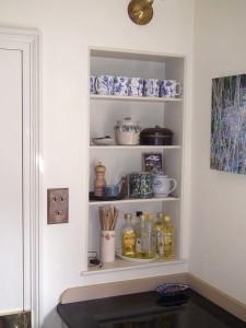 purpose made alcove shelf unit
