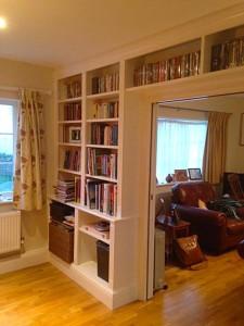 purpose made bookcase dividing wall