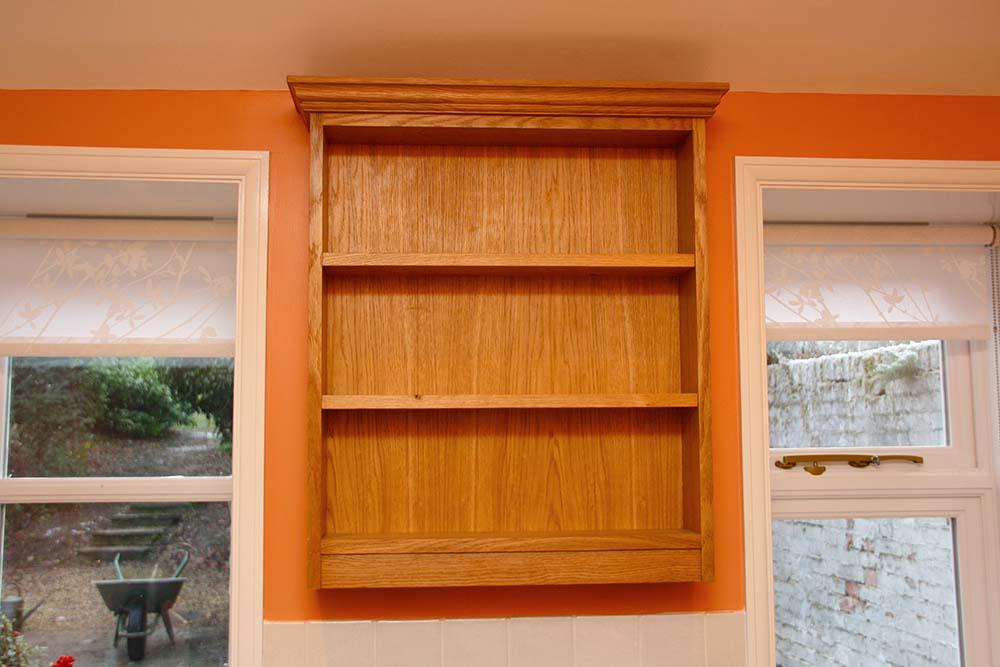 purpose made oak shelf unit