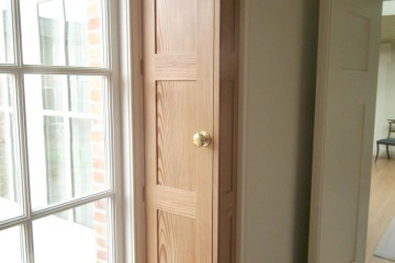 purpose made pitch pine window shutter