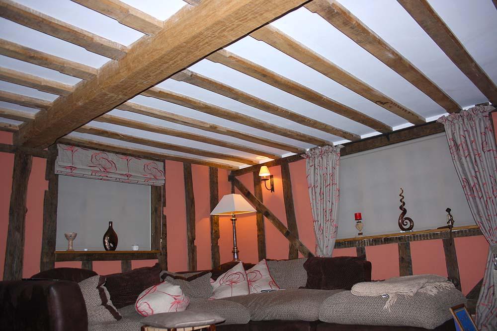structural oak floor joists & beams